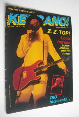<!--1983-04-07-->Kerrang magazine - Billy Gibbons cover (7-20 April 1983 -