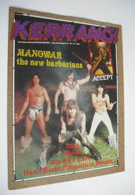 <!--1983-07-28-->Kerrang magazine - Manowar cover (28 July - 10 August 1983