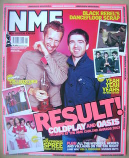 NME magazine - Chris Martin and Noel Gallagher cover (22 February 2003)