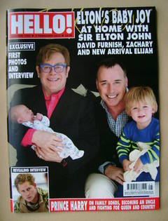 <!--2013-02-04-->Hello! magazine - Elton John, David Furnish, Zachary and E