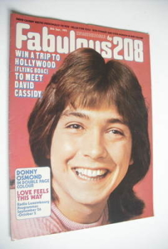 Fabulous 208 magazine (30 September 1972 - David Cassidy cover)