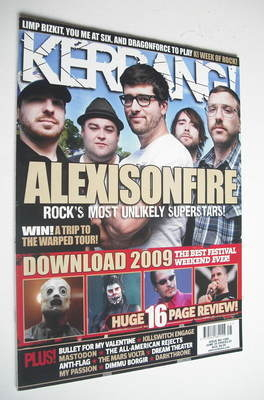 <!--2009-06-20-->Kerrang magazine - Alexisonfire cover (20 June 2009 - Issu