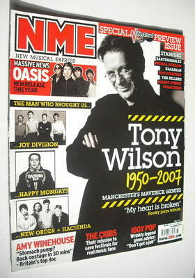 <!--2007-08-18-->NME magazine - Tony Wilson cover (18 August 2007)