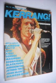 Kerrang magazine - Foreigner cover (6-19 May 1982 - Issue 15)