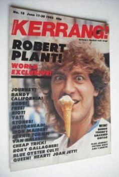 Kerrang magazine - Robert Plant cover (17-30 June 1982 - Issue 18)