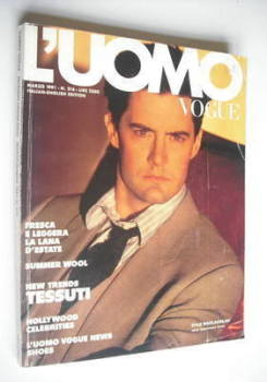 L'Uomo Vogue magazine - March 1991 - Kyle MacLachlan cover