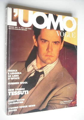 <!--1991-03-->L'Uomo Vogue magazine - March 1991 - Kyle MacLachlan cover