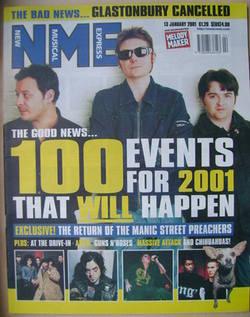 NME magazine - Manic Street Preachers cover (13 January 2001)