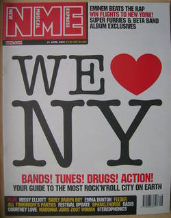 <!--2001-04-21-->NME magazine - We Love NY cover (21 April 2001)