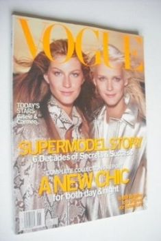 US Vogue magazine - January 2000 - Gisele Bundchen and Carmen Kass cover