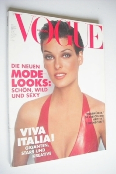 German Vogue magazine - August 1992 - Linda Evangelista cover