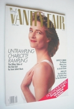 US Vanity Fair magazine - Charlotte Rampling cover (April 1988)
