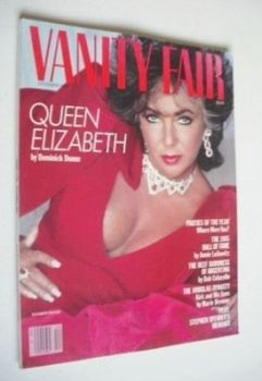 US Vanity Fair magazine - Elizabeth Taylor cover (December 1985)