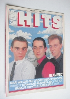 <!--1982-02-18-->Smash Hits magazine - Heaven 17 cover (18 February - 3 Mar