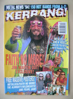 <!--1994-01-01-->Kerrang magazine - Jim Martin cover (1 January 1994 - Issu