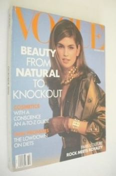 US Vogue magazine - October 1990 - Cindy Crawford cover