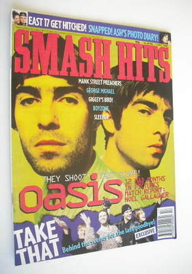 <!--1996-04-24-->Smash Hits magazine - Oasis cover (24 April - 7 May 1996)