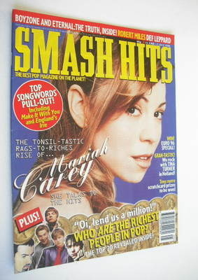 <!--1996-06-19-->Smash Hits magazine - Mariah Carey cover (19 June - 2 July
