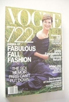 US Vogue magazine - September 2001 - Linda Evangelista cover