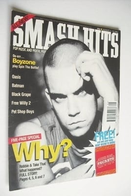<!--1995-08-02-->Smash Hits magazine - Robbie Williams cover (2-15 August 1
