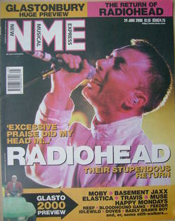 <!--2000-06-24-->NME magazine - Thom Yorke cover (24 June 2000)