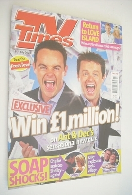 <!--2006-07-08-->TV Times magazine - Ant and Dec cover (8-14 July 2006)