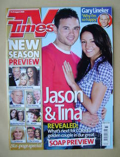 <!--2009-08-15-->TV Times magazine - Ryan Thomas and Michelle Keegan cover