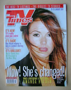 <!--2001-01-20-->TV Times magazine - Amanda Holden cover (20-26 January 200