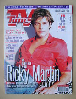 <!--2001-02-10-->TV Times magazine - Ricky Martin cover (10-16 February 200
