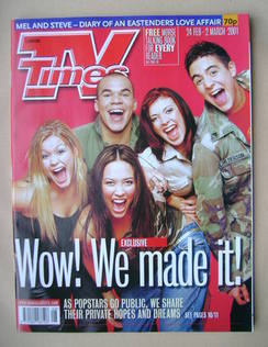 <!--2001-02-24-->TV Times magazine - Hear'Say cover (24 February-2 March 20
