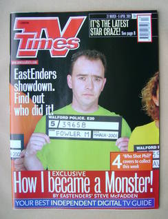 <!--2001-03-31-->TV Times magazine - Todd Carty cover (31 March-6 April 200