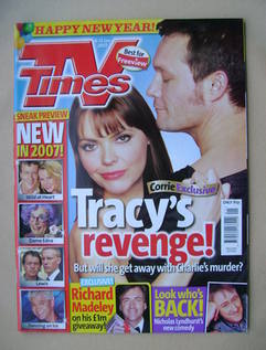 <!--2007-01-06-->TV Times magazine - Kate Ford and Bill Ward cover (6-12 Ja