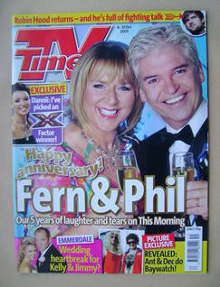 <!--2007-10-06-->TV Times magazine - Fern Britton and Phillip Schofield cov