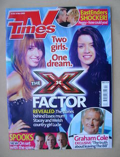 <!--2009-10-31-->TV Times magazine - Stacey Solomon and Lucie Jones cover (