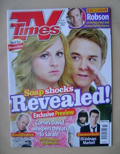 <!--2007-08-11-->TV Times magazine - Tina O'Brien and Jack P Shepherd cover