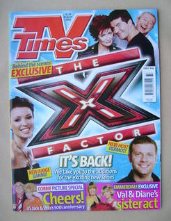 <!--2007-08-18-->TV Times magazine - X Factor cover (18-24 August 2007)