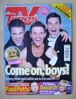 <!--2007-12-08-->TV Times magazine - Kenny Logan, Matt Di Angelo and Gethin