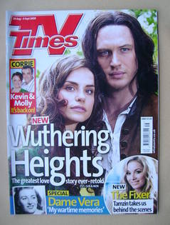 <!--2009-08-29-->TV Times magazine - Charlotte Riley and Tom Hardy cover (2