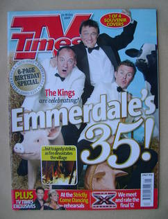 <!--2007-10-13-->TV Times magazine - Emmerdale's 35! cover (13-19 October 2