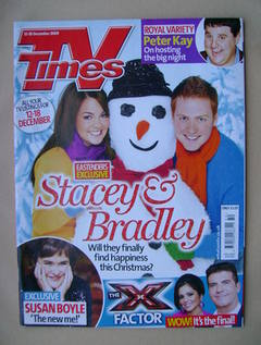<!--2009-12-12-->TV Times magazine - Lacey Turner and Charlie Clements cove