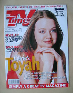 <!--2001-05-05-->TV Times magazine - Georgia Taylor cover (5-11 May 2001)
