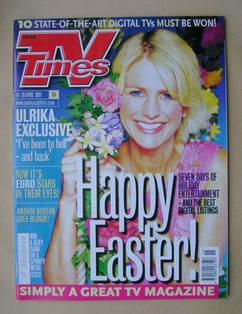 <!--2001-04-14-->TV Times magazine - Ulrika Jonsson cover (14-20 April 2001