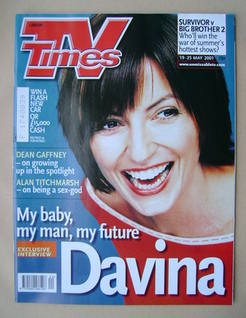 <!--2001-05-19-->TV Times magazine - Davina McCall cover (19-25 May 2001)