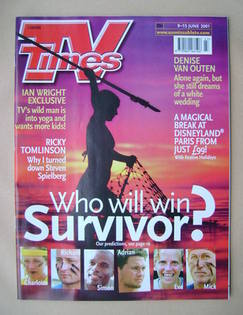 <!--2001-06-09-->TV Times magazine - Survivor cover (9-15 June 2001)
