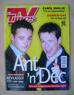 <!--2001-05-12-->TV Times magazine - Ant and Dec cover (12-18 May 2001)