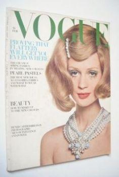 British Vogue magazine - February 1968 - Celia Hammond cover