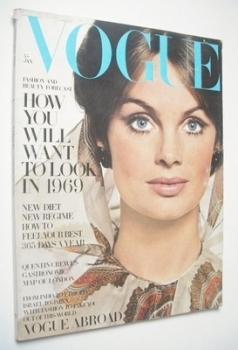 British Vogue magazine - January 1969 - Jean Shrimpton cover