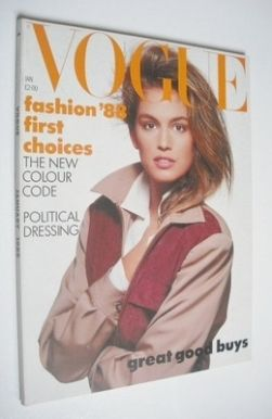 <!--1988-01-->British Vogue magazine - January 1988 - Cindy Crawford cover