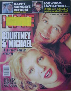 <!--1999-01-23-->NME magazine - Michael Stipe and Courtney Love cover (23 J