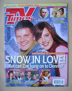 <!--2004-12-11-->TV Times magazine - Nigel Harman and Michelle Ryan cover (